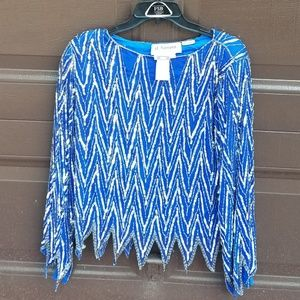 St. Honore Vintage Sequin Beaded Silk Blouse NWT